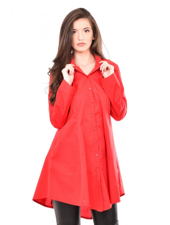 Red asymmetric shirt Mihalena
