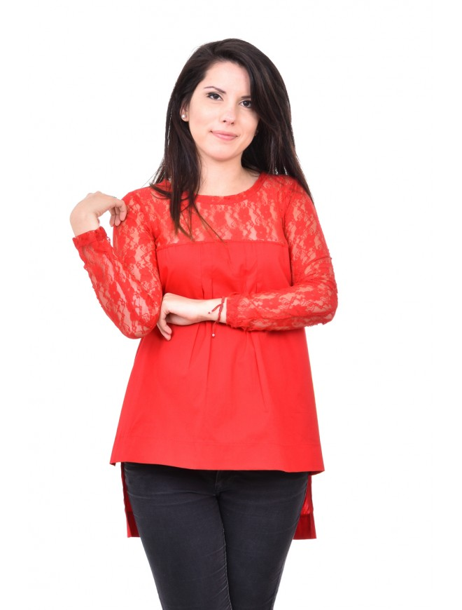 Red blouse with long sleeves Lubina