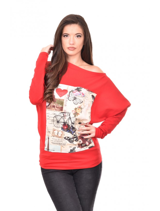 Red Blouse with long sleeves Yasha