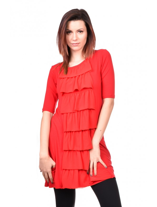 Red Women Tunic Snejka