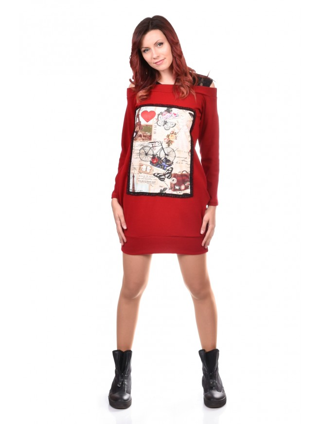 Red Women Tunic Iolinita