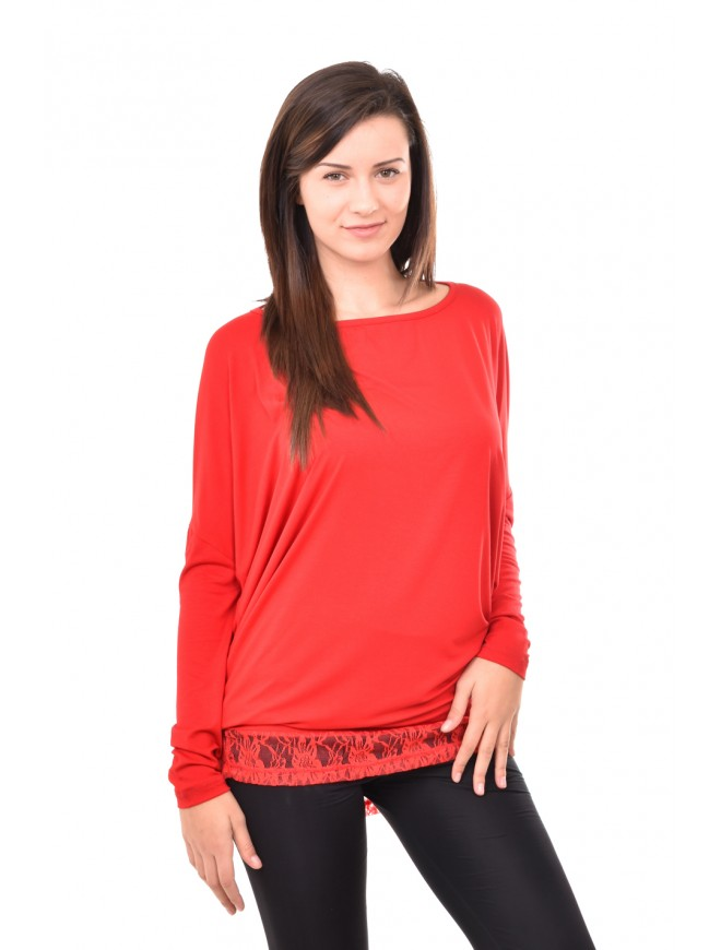 Red tunic with lace Deniza