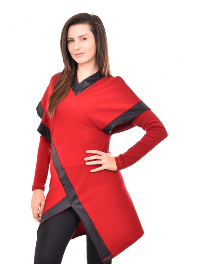 Knitted tunic with leather details Mihaila