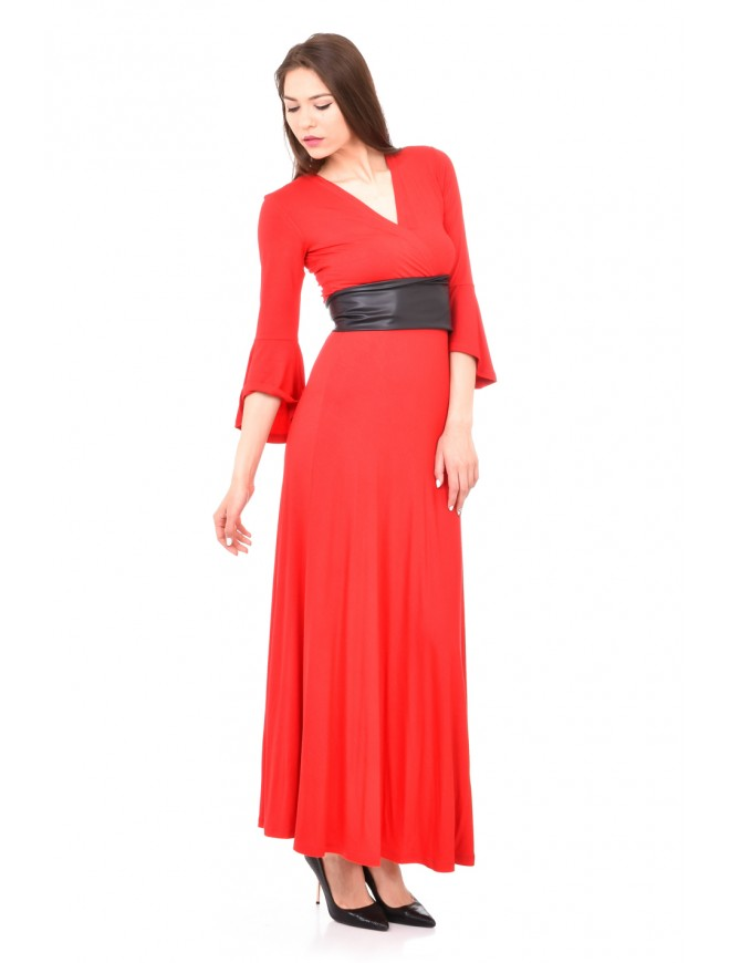 Long dress in red with black belt Violena