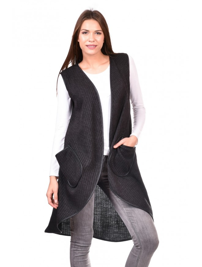 Women's vest in dark gray Vutelina