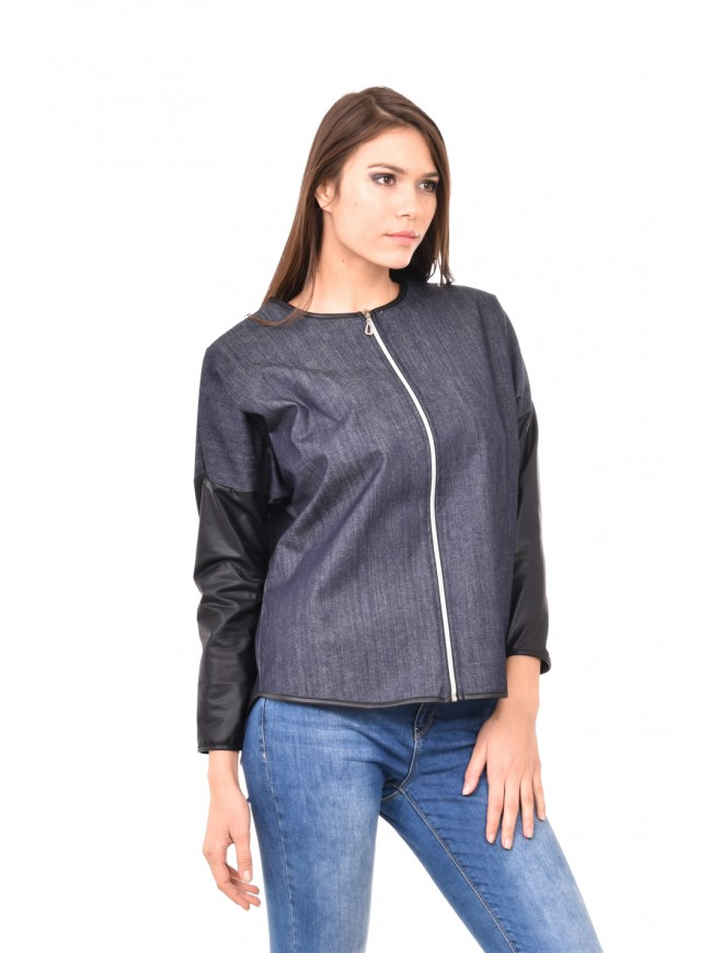 Denim shirt with leather Ekaterina-Maria
