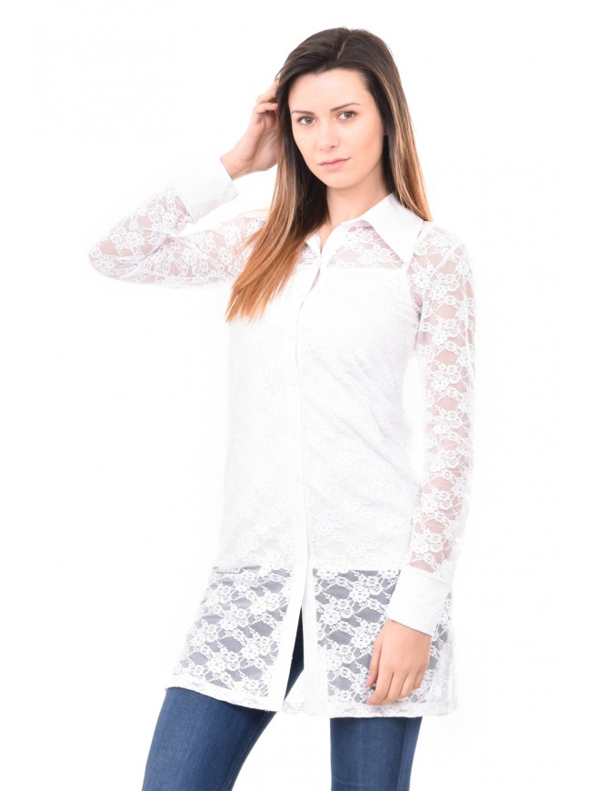 Lace shirt in white Milenita