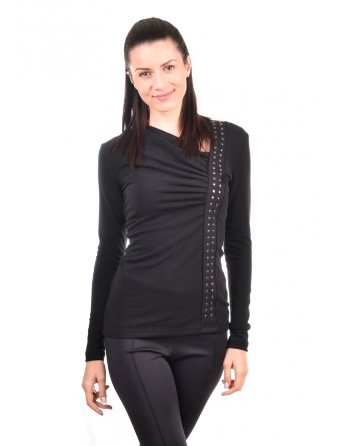 Black knit blouse with studs Markiza