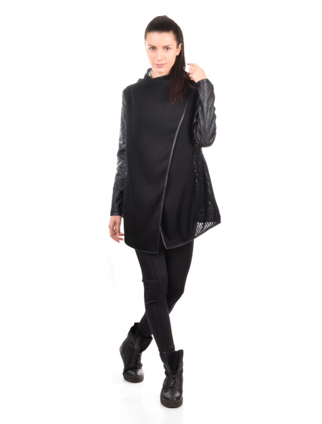 Black cardigan with leather Karina-Ina