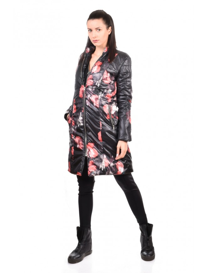 Warm knee length floral jacket Dana-Marina
