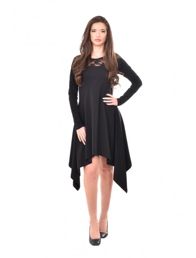Black dress with lace neckline Temenuga