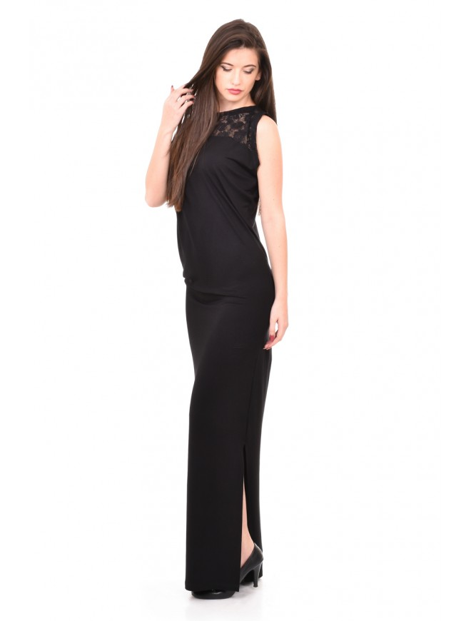 Elegant long dress in black Adina