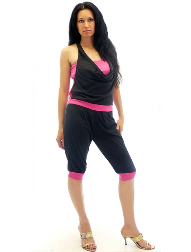 Siana Jumpsuit in Black and Magenta