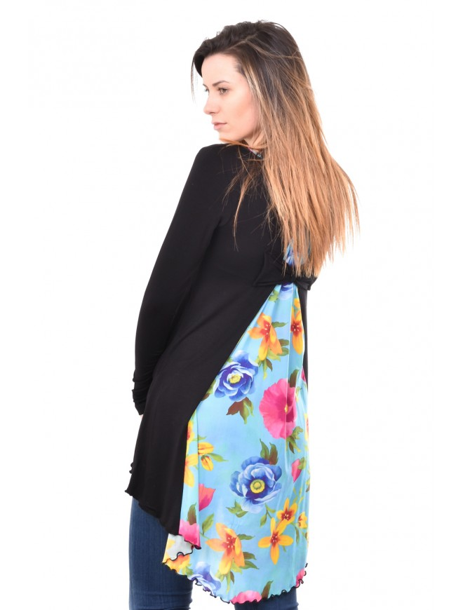 Interesting tunic in black and pink Andriana