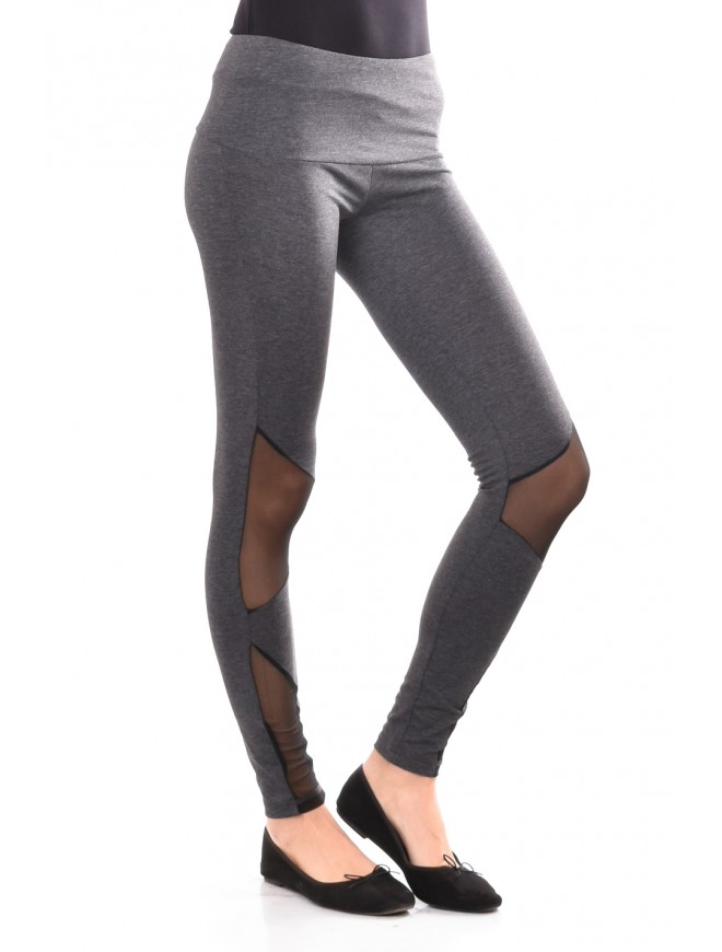 Jersey leggings with tulle in gray Monina