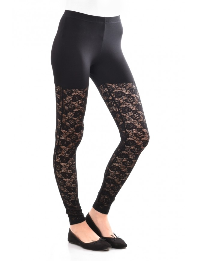 Jersey leggings with lace Dia
