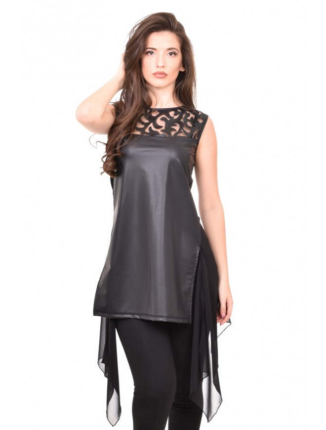 Leather tunic in black Teya