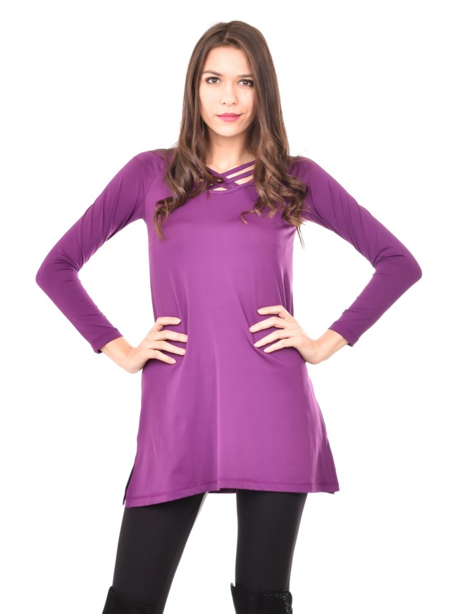 Purple tunic with interesting detail Julisena