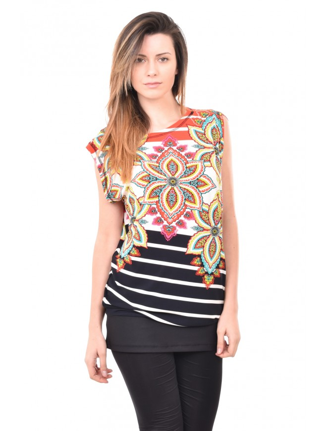 Colourful sleveless tunic Marena