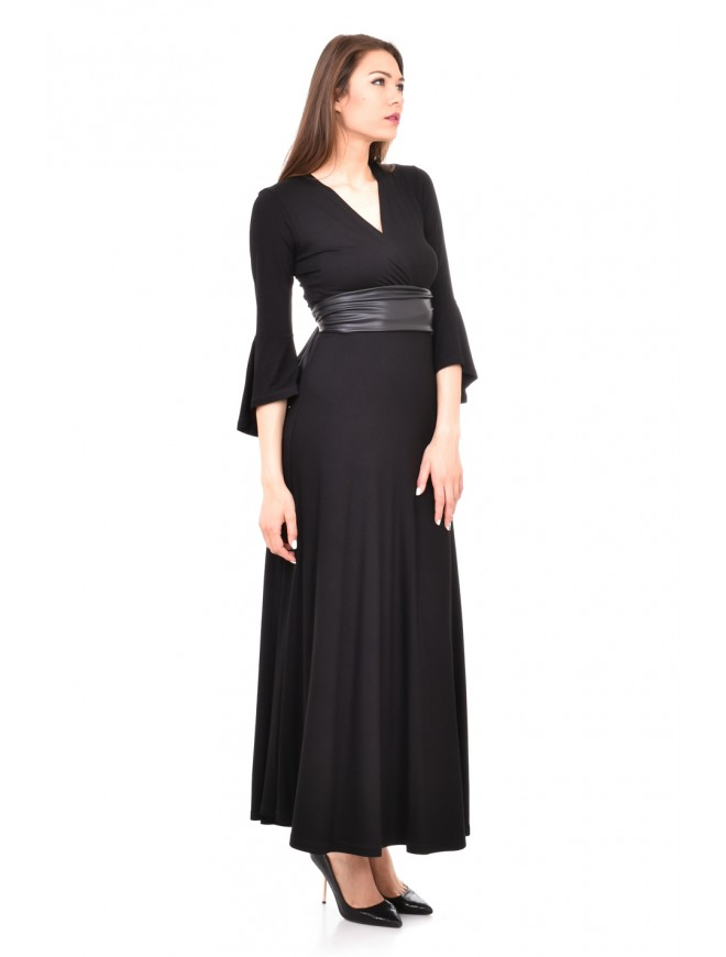 Stylish long dress with leather belt Violena