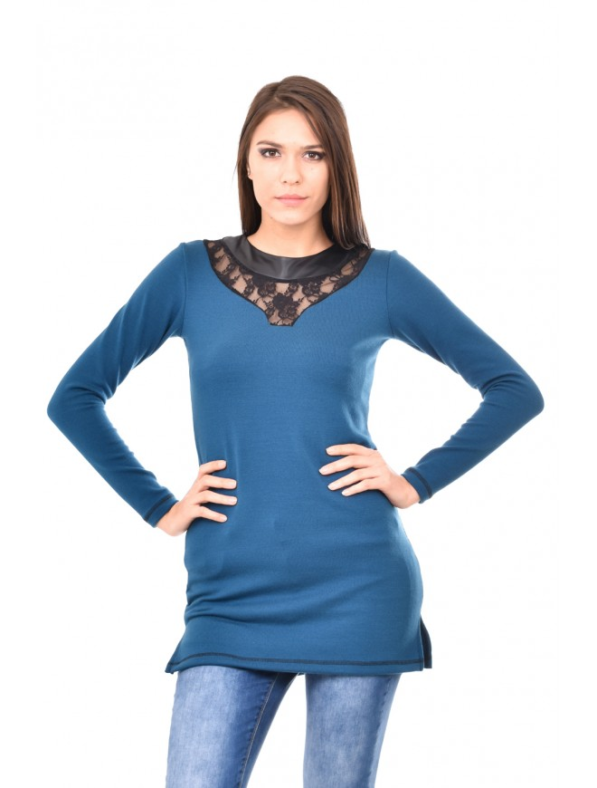 Teal knitted tunic with lace Darina