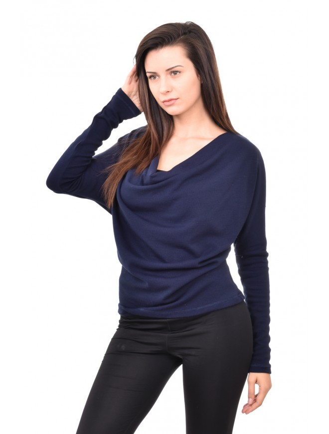 Knitted blouse in dark blue colour Alekseya