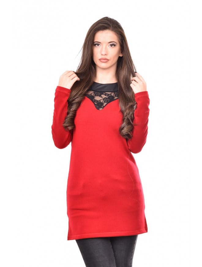 Knitted red tunic with lace Derina