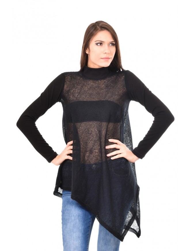Knitted polo neck tunic in black Arina