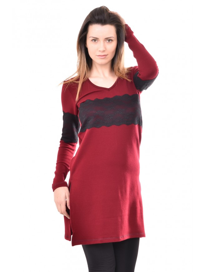 Knitted tunic in bordeaux Lena