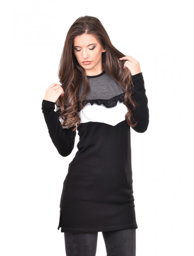 Knitted tunic in gray black and white Vilena