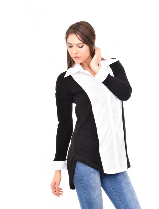 Black and white knitted shirt Temenuzha