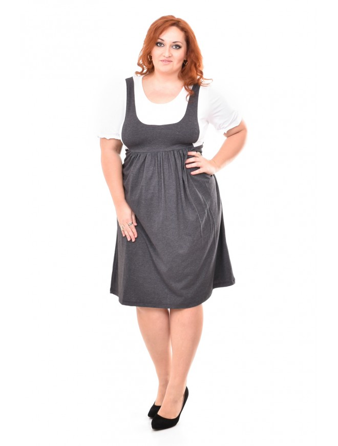 Ivaneta Dress in Gray and White