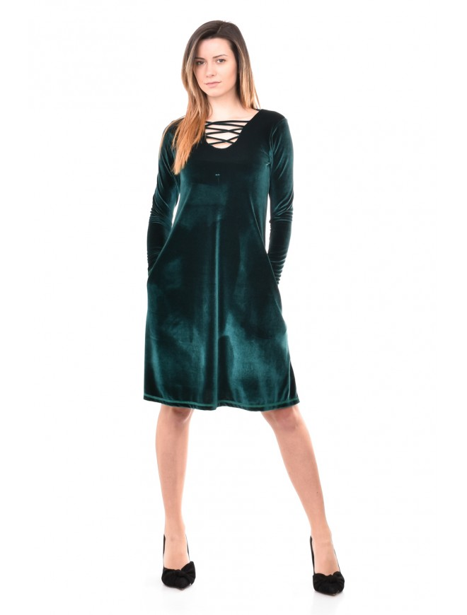 Velvet dress in green Finaya