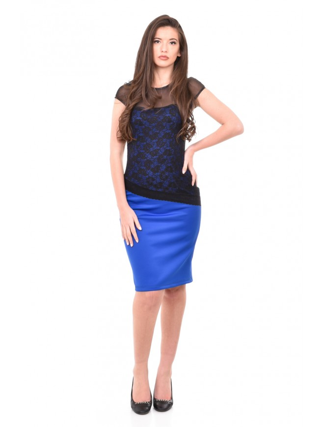 Lace dress in blue and black Mariya-Martina