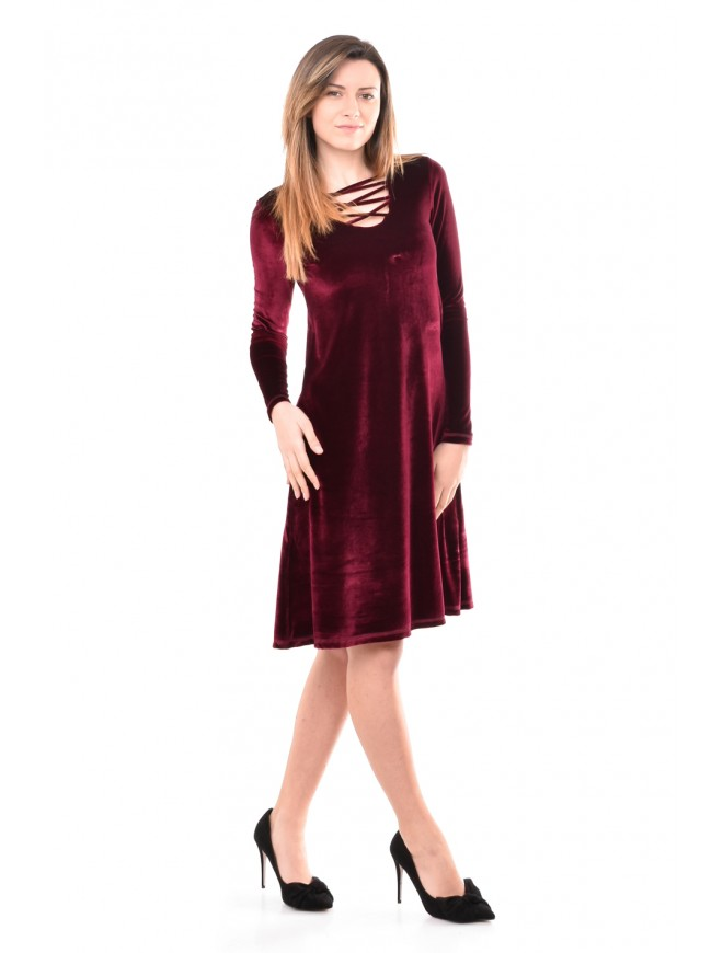 Velvet dress in bordeaux Finaya