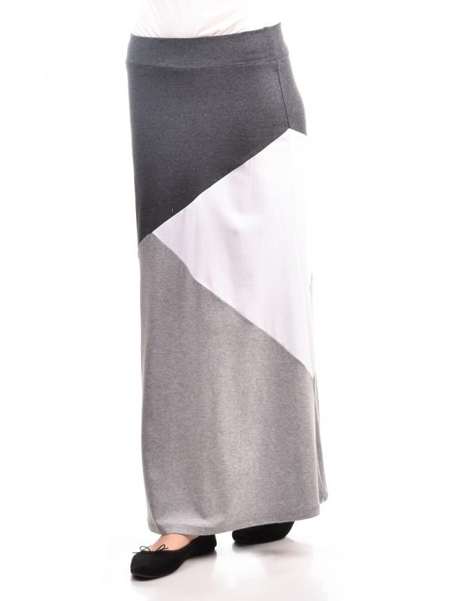 Grey and white long skirt Mary-An