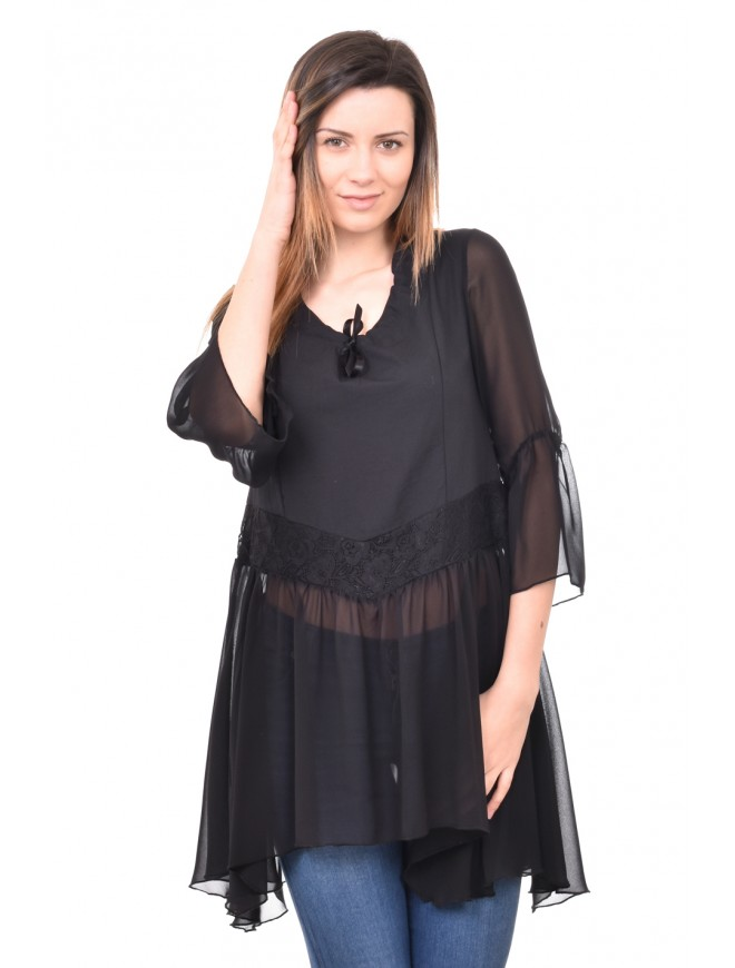 Stylish tunic with chiffon and lace Moli