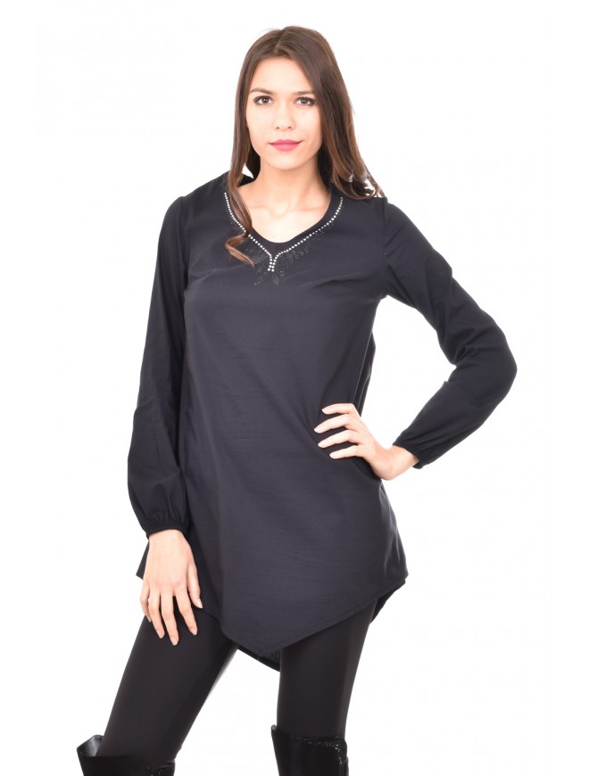 Stylish tunic with decoration in black Aglika