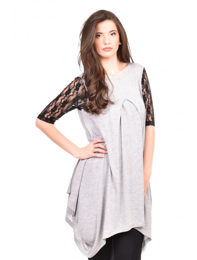 Light gray flared tunic Moreen