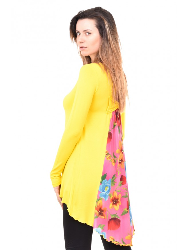 Fashion tunic in yellow and pink Andriana