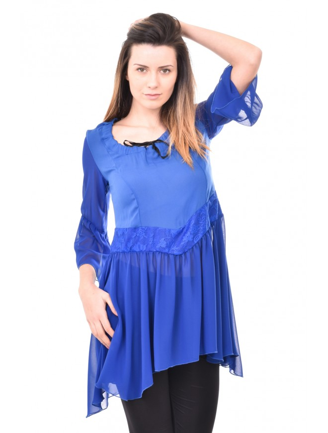 Dark blue tunic with lace Moli