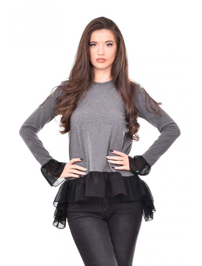 Dark gray tunic with chiffon details Henia