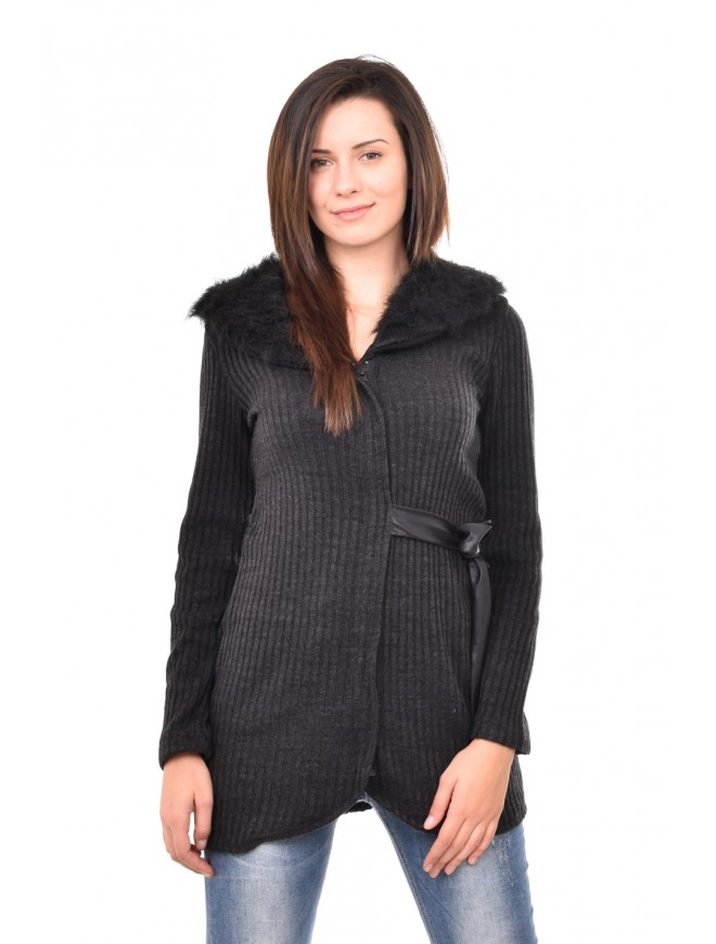 Dark gray cardigan with leather belt Denisa