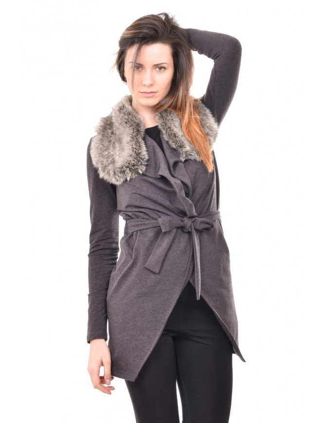 Dark gray cardigan with collar Vinaya