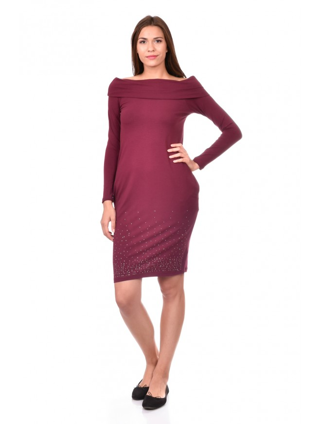 Knitted dress in Bordeaux Nadejda-Marina