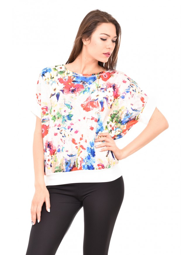 Floral blouse with short sleeves Snaya