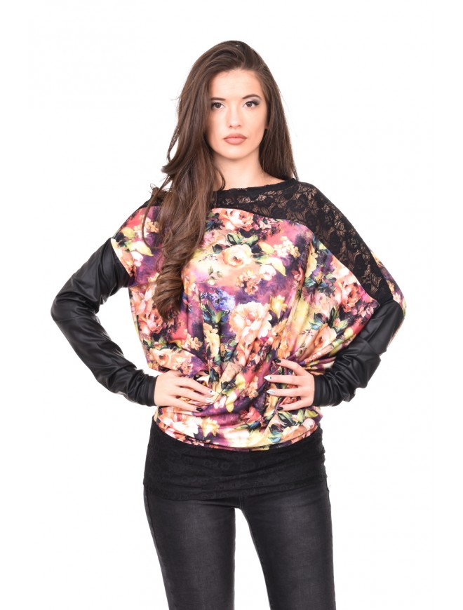 Floral tunic with lace and leather Dalina