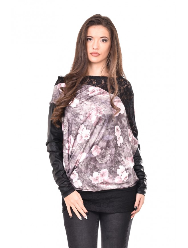 Floral tunic with leather  Dalina