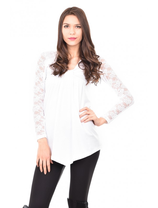 Tunic with lace sleeves in white Avena