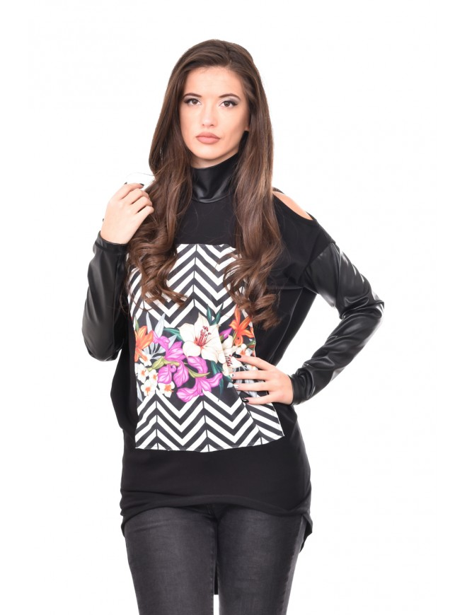 Tunic with cut out shoulders in black Kseniya